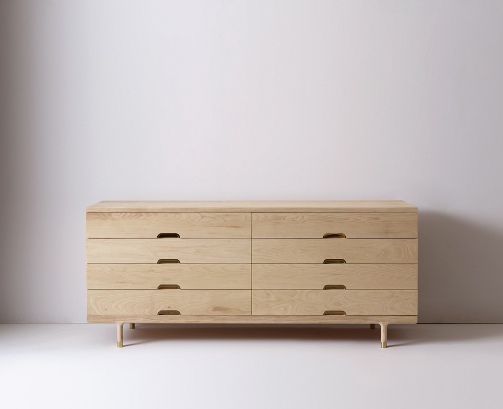 Modern solid wood simple dresser in ash
